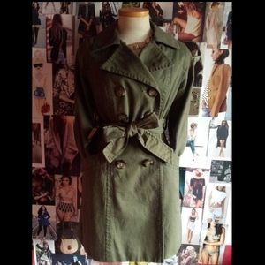 Olive green cotton trench coat